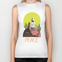 peace Biker Tanks featuring Peace by Colourbox
