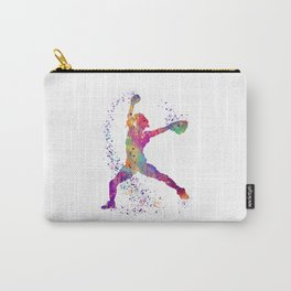 Girl Baseball Player Softball Pitcher Colorful Watercolor Sports Artwork Carry-All Pouch