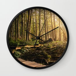 Forest Mountain Wanderlust Boardwalk - Nature Photography Wall Clock
