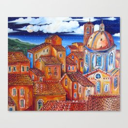 MOONLIGHT and ROOFS Italian Village Canvas Print