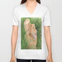 conan V-neck T-shirts featuring Golden Retriever Conan by Yvonne Carter