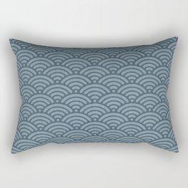 Blue Indigo Denim Waves Rectangular Pillow