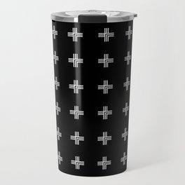 Geometric Swiss Cross Pattern (black background) Travel Mug