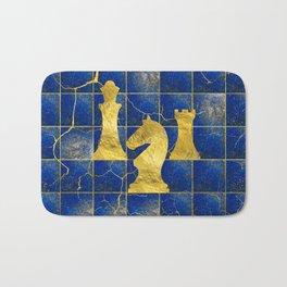 Lapis Lazuli Chessboard and Gold Chess Pieces Bath Mat