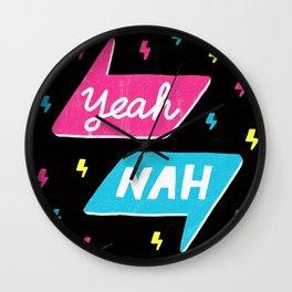 Yeah Nah Wall Clock