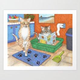 Cat in litter Art Print