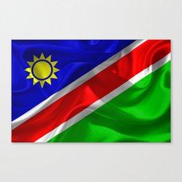 Waving fabric national flag of Namibia Canvas Print