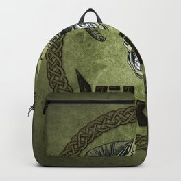 Awesome viking skull with longship and celtic knot Backpack