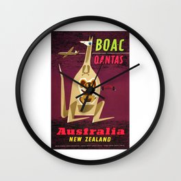 1960 Australia New Zealand BOAC  Qantas Advertising Poster Wall Clock
