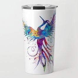 Phoenix Watercolor Print Nursery Art Gift for Her Bird Art Travel Mug