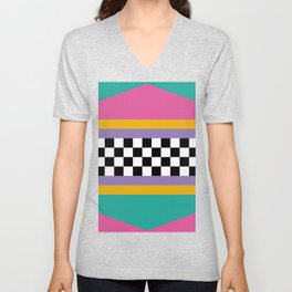 Checkered pattern grid / Vintage 80s / Retro 90s Unisex V-Neck