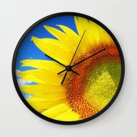 sunflower Wall Clocks featuring SUNFLOWER by Ylenia Pizzetti