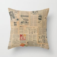 Vintage Fifties Paper Articles Throw Pillow