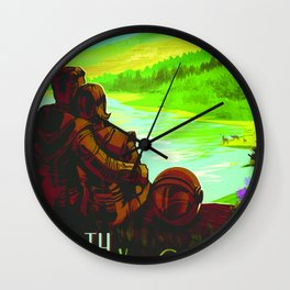 NASA Space Earth Retro Poster Futuristic Explorer Poster Wall Clock