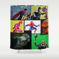 batgirl Shower Curtains featuring Hero Panel by Beastie Toyz