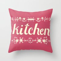 kitchen Throw Pillows featuring Kitchen by Leah Doguet