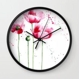 Expressive poppies || watercolor Wall Clock