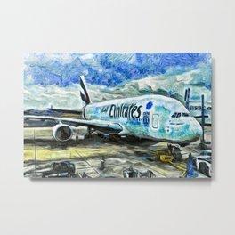 Emirates A380 Airbus Art Metal Print