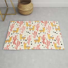 Yellow Llamas Red Cacti Rug