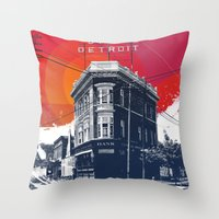 detroit Throw Pillows featuring Save Detroit by The Mighty Mitten - Great Lakes Art