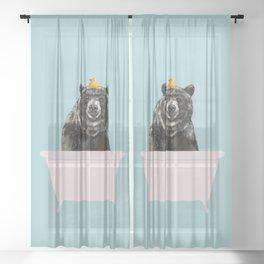 Big Bear in Bathtub Sheer Curtain