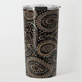 Beautiful Pattern of Paisley Art, Flowers, Doodles - Gradient Gold Pattern Travel Mug