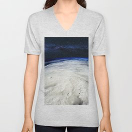 Satellite View of Hurricane and Milky Way Digital Photography by Jéanpaul Ferro Unisex V-Neck