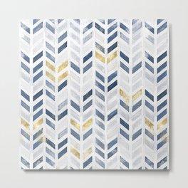 Herringbone chevron pattern. Indigo gold acrylic on canvas Metal Print