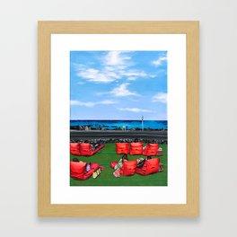 Sea of Jeju Island and Cafe Framed Art Print