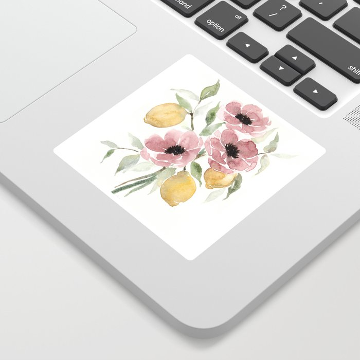 Watercolor-poppies-and-lemons Sticker