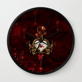 Wonderful hearts with dove Wall Clock