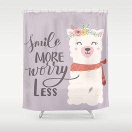 Smile More Worry Less, Cute Baby Alpaca Advice Shower Curtain