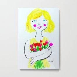 Girl with Tulips Metal Print