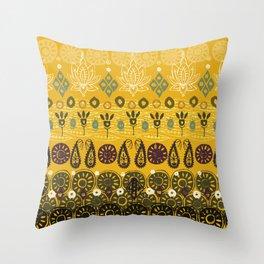lotus block vintage gold Throw Pillow