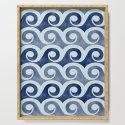 Retro Tropical Beach Waves - Indigo Blue Woodblock by kristiangallagher