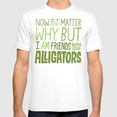 Aligator Friends White SMALL Mens Fitted Tee