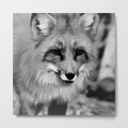 red fox dog abstract digital oil painting canvas black white Metal Print