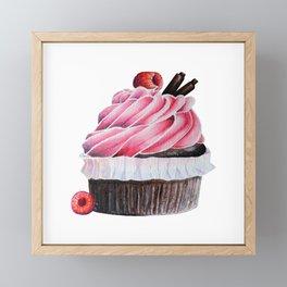 Chocolate Raspberry Cupcake Framed Mini Art Print