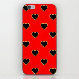 Black Hearts on Red Background iPhone Skin