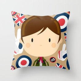 British Mod Boy in Parka Jacket Throw Pillow