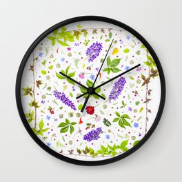 Leaves and flowers pattern (33) Wall Clock