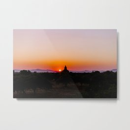 Dreamy Sunset in Bagan, Myanmar temples with Hot Air Balloon | Asia Photography Art Print Metal Print