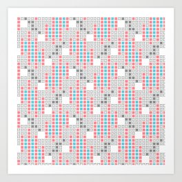 BRIXHAM, RETRO SQUARES: TURQUOISE, PINK on WHITE Art Print