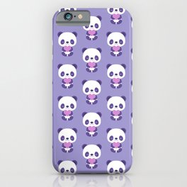 Cute purple baby pandas iPhone Case