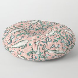 Narwhal Toile - peach pink Floor Pillow