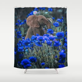 baby elephant on flower field Shower Curtain