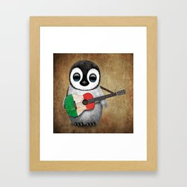 Baby Penguin Playing Italian Flag Guitar Framed Art Print