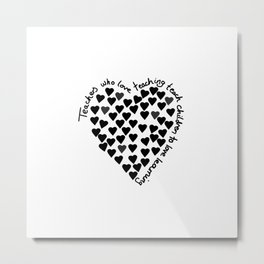 Hearts Heart Teacher Black on White Metal Print