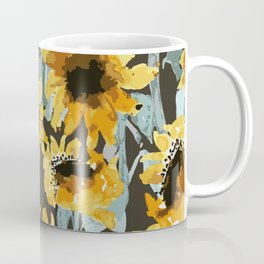 Sunflower Painting//Sunflower Field // Sunflower Watercolor //Yellow/Dark Coffee Mug