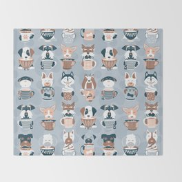 Doggie Coffee and Tea Time I // blue grey Throw Blanket